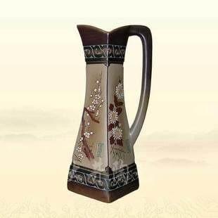 陶藝擺設工藝品單耳方杯梅蘭竹菊花瓶裝飾品擺件
