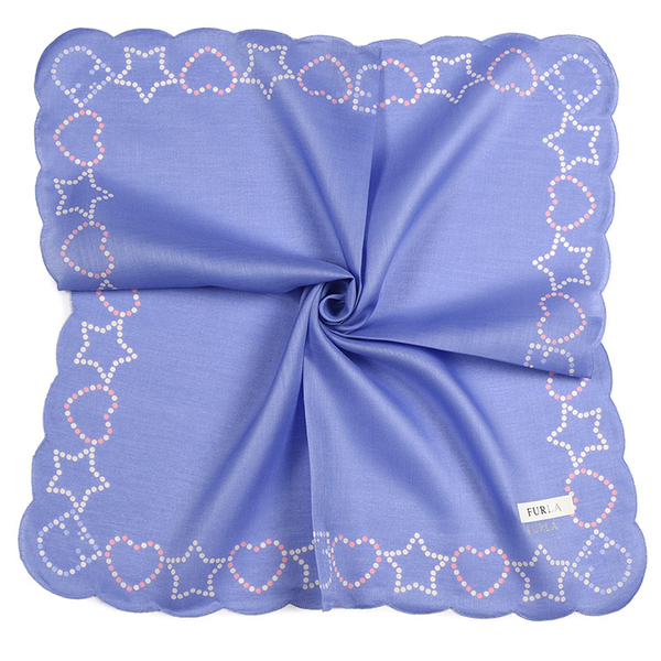 FURLA點點印花波浪滾邊純綿帕領巾(紫色)989250-9