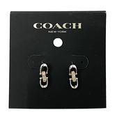 【COACH】雙字母C LOGO仿鑽針式耳環(金/銀色)