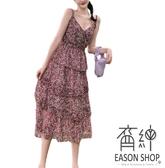 EASON SHOP(GW6464)實拍沙灘露背滿版碎花收腰無露肩無袖細肩帶吊帶雪紡連身裙洋裝蛋糕裙過膝長裙