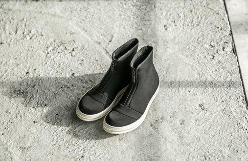 FINDSENSE MD 日系 高品質 時尚 潮 男 拉鏈 高幫 低跟休閒鞋 短