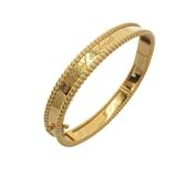 Van Cleef & Arpels 梵克雅寶 Perlée™系列鑲捲曲花紋logo字體K18YG圓珠飾邊手環