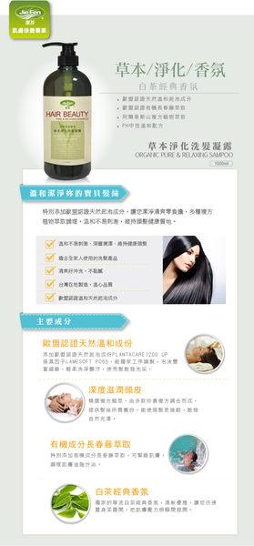 【Jie Fen潔芬】草本淨化洗髮凝露(1000ml )  3瓶(白茶經典香氛)