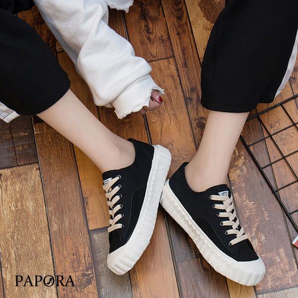 焦糖餅乾鞋平底休閒帆布鞋K9620黑 / 米 / 白