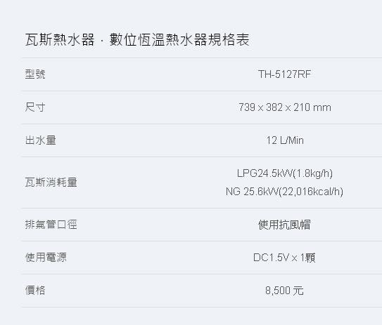 莊頭北 12L加強抗風型  產品型號1:TH-5127RF