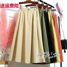 休閒有口袋的黃色半身裙2021春款女a字裙高腰小個子半裙長裙裙子 小艾新品
