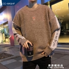 港風毛衣男士冬季韓版學生寬鬆潮流個性加絨加厚款慵懶風套頭ins【果果新品】