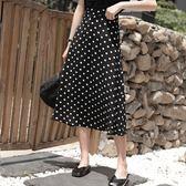 波點半身裙女春夏高腰包臀ins超火的中長款魚尾裙法 伊蒂斯女裝
