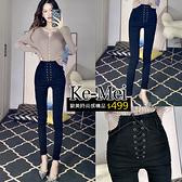 克妹Ke-Mei【ZT61809】暗黑INS款黑色性感高腰綁帶釘釦緊身牛仔褲