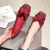 豆豆鞋女2020春季新款婚鞋韓版亮片紅色平底四季單鞋方頭大碼女鞋