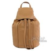 茱麗葉精品 【全新現貨 】LOEWE RUCKSACK 壓印LOGO抽繩小牛皮雙肩後背包.棕色