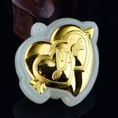 金鑲玉項鍊 和闐玉吊墜-經典愛心生日情人節禮物男女飾品73gf95[時尚巴黎]