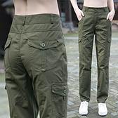 工裝褲女2021新款春季顯瘦高腰寬鬆百搭直筒褲純棉薄款軍褲休閒褲  【端午節特惠】