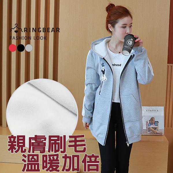 保暖外套--個性線條剪接袖優雅女孩印圖抽繩連帽外套(黑.灰.紅L-3L)-J321眼圈熊中大尺碼
