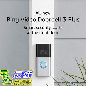 [9美國直購] 可錄影視訊門鈴 All-new Ring Video Doorbell 3 Plus 1080p HD video, improved motion detection, 4-second