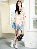 早春上市[H2O]軟質長版可當外套多種穿法附綁帶長袖襯衫 - 白/卡其色 #0685004