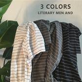 新款韓版基礎款學生短袖T恤圓領條紋半袖簡約情侶男女上衣服