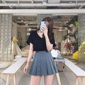 短裙 2019春季新款百褶裙女冬高腰A字半身裙褲學院風學生chica短裙子
