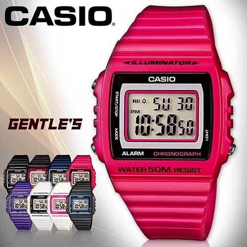CASIO手錶專賣店 卡西歐  W-215H-4A 數字錶 桃紅 中性錶 方形 防水50米 LED背光照明 膠質錶帶