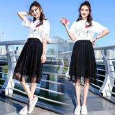 中大尺碼 2018新款女中長款高腰蕾絲Ins超火網紗半身裙 JA2347『時尚玩家』