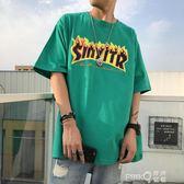 嘻哈街舞加肥大碼 肥佬胖子半袖汗衫男TEE 火焰字母夏季T恤男短袖  【PINKQ】
