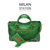 【台中米蘭站】BALENCIAGA CITY郵差綠金扣兩用包