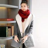 韓版秋冬季羊羔毛大碼寬松毛衣開衫中長款帶帽外套加絨加厚 米蘭shoe