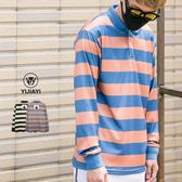 【現貨】【YIJIAYI】POLO衫 撞色橫條紋 人物圖片 長袖上衣 (0833)