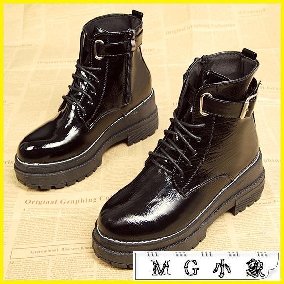MG 中筒靴-馬丁靴韓版百搭厚底小短靴鞋子單靴