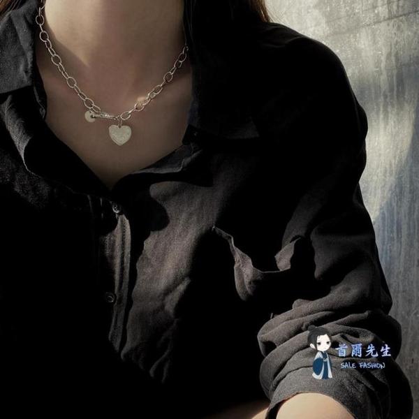 鍊條項鍊 新款愛心吊墜項鍊女簡約氣質粗鍊條頸鍊ins個性冷淡風時尚鎖骨鍊