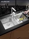 水槽德國加厚手工水槽雙槽304不銹鋼水槽廚房洗菜盆洗碗池套餐臺下盆 LX 【99免運】
