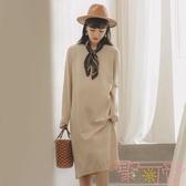 孕婦連身裙長袖針織毛衣裙子長款過膝冬裝【聚可愛】