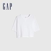 Gap男幼童 純棉圓領中長袖T恤 778221-白色