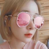 不規則多邊形太陽鏡女潮圓臉大框韓版墨鏡大臉網紅粉色眼鏡偏光鏡 英雄聯盟