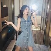 新品復古收腰氣質洋裝子超仙女森系V領牛仔背心裙 - 歐美韓熱銷