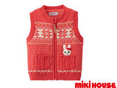 MIKI HOUSE舞颯兔北歐風針織毛衣背心 (橙紅)