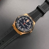 星晴錶業-FERRARI法拉利男女通用錶,編號FE00017,44mm玫瑰金錶殼,深黑色錶帶款