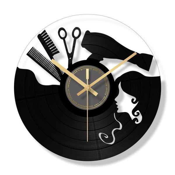 掛鐘 復古靜音客廳個性時尚石英鐘酒吧掛錶美發店鐘錶理發時鐘 - 古梵希