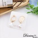 現貨 韓國時尚個性幾何不規則珍珠不對稱垂墜耳環 夾式耳環 S93656 批發價 Danica 韓系飾品 韓國連線