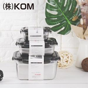 【KOM】日式不鏽鋼保鮮盒三件組-冰酷黑