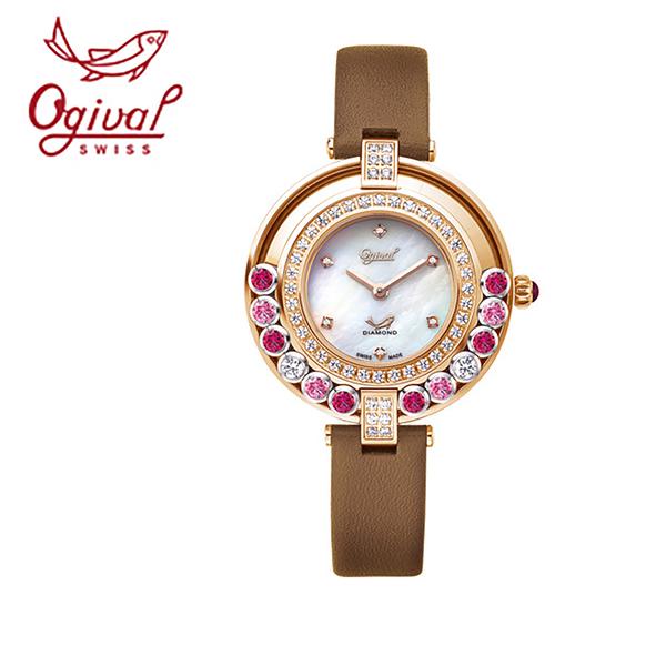 Ogival愛其華 流星系列-流光瀲灩珠寶錶-咖 380-45DLR