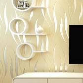 現代簡約波浪曲線條紋3D立體雕刻無紡布壁紙客廳走道臥室背景墻紙 igo生活主義