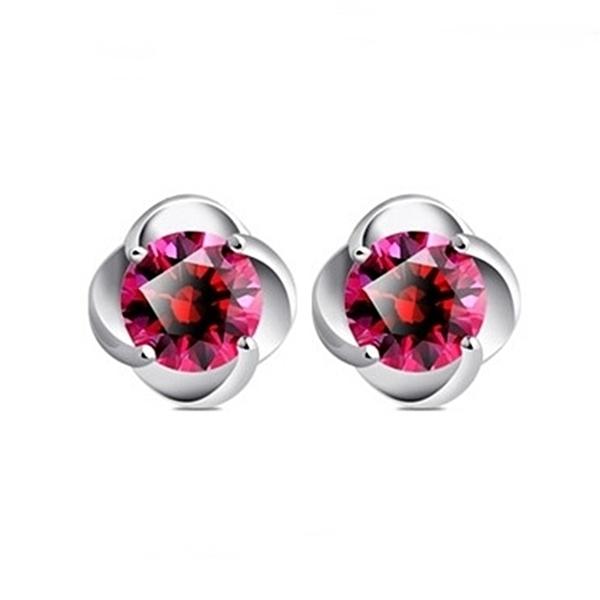925純銀花型花托 天然紅水晶 耳環耳釘針-銀 防抗過敏