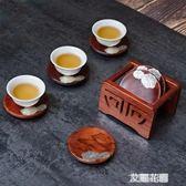錫制杯墊杯托黑檀木隔熱圓形茶墊茶道功夫茶杯托實木杯架QM『艾麗花園』