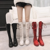 網紅靴子女2019冬款中筒靴英倫風帥氣百搭不過膝繫帶粗跟騎士靴潮 安妮塔小鋪