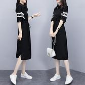 中袖洋装 2020新款女裝夏季修身收腰中長款襯衫洋裝女黑色拼接中袖襯衣裙 Korea時尚記