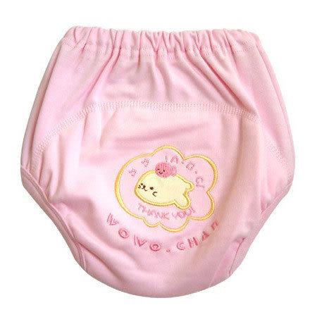 【奇買親子購物網】黃金海獺繡花環保學習尿褲(水藍/粉紅/黃色)