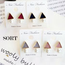 耳環 精緻小巧日韓系幾何三角型珍珠 百搭耳針耳環【1DDE0098】