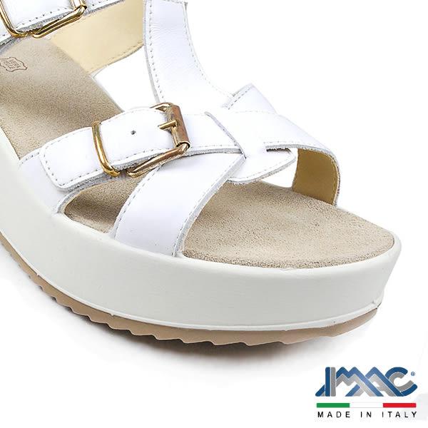 【IMAC】義大利真皮時尚厚底涼拖鞋  白色(72700-WH)
