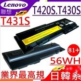 LENOVO電池(業界最高規)-聯想 T430S,T430SI,T420S,T420SI,45N1036,45N1037,45N1038,45N1039,0A36287,81+,66+